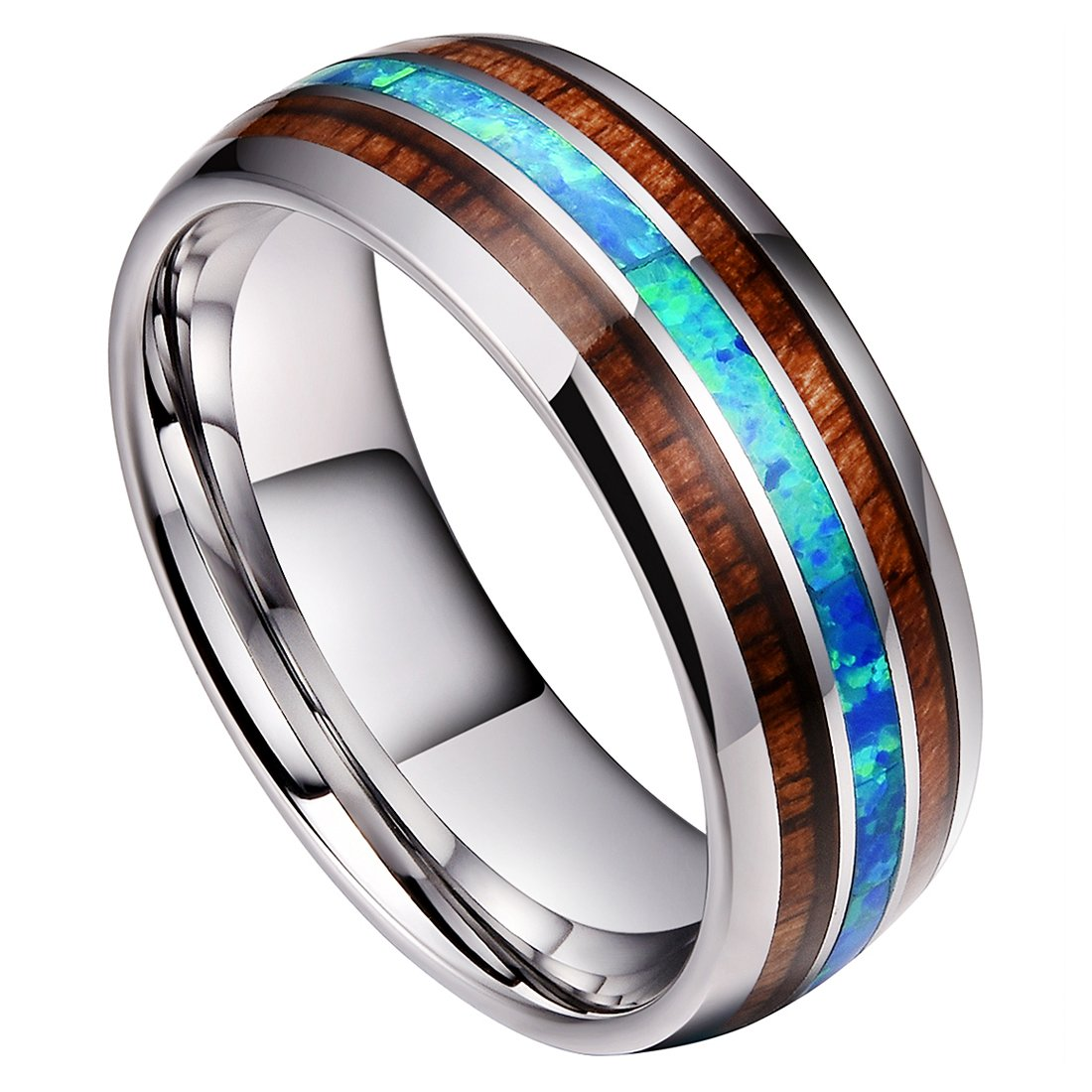 DOUX 8mm Mens Tungsten Carbide Ring Blue Opal Koa Wood Inlay Wedding Band Comfort Fit High Polished(10)