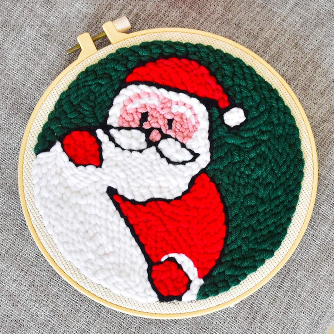 Christmas Theme DIY Handcraft Embroidery Knitting Rug Punch Beginner Kit Latch Hook Kits with Punch Needle Colorful Yarn and Frame Christmas Elk Yamix Punch Needle Starter Kit