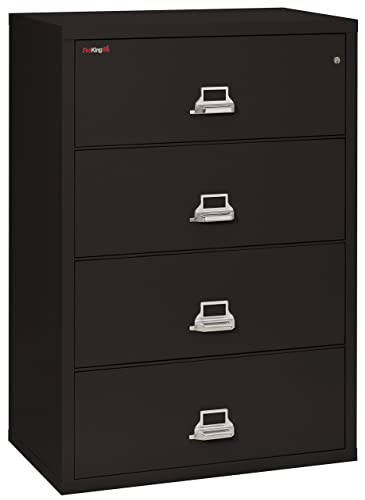 FireKing Fireproof Lateral File Cabinet 4 Drawers, Impact Resistant, Water Resistant , 44 W x 22 D, Black, Made in USA