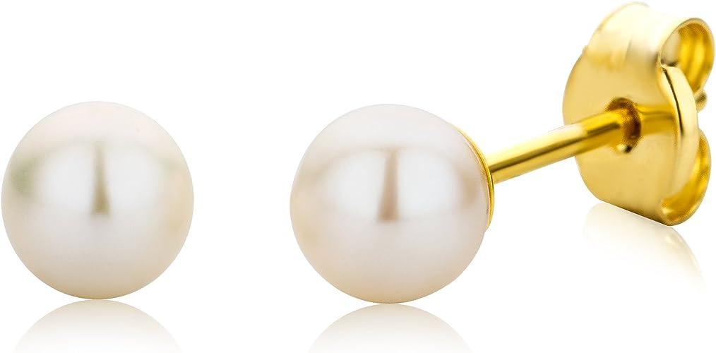 Pendientes de oro amarillo de 9 quilates con perla con cierre de mariposa a presión