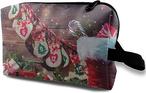 Bolsa de cosméticos para Mujeres, Fondo de Navidad. Calendario de Adviento y Estuche de Zapatos de Santa Claus: Amazon.es: Belleza