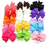 Tinksky 15pcs 3-inch Boutique Hair Bows Girls Kids Alligator Clip Grosgrain Ribbon Hair Clips