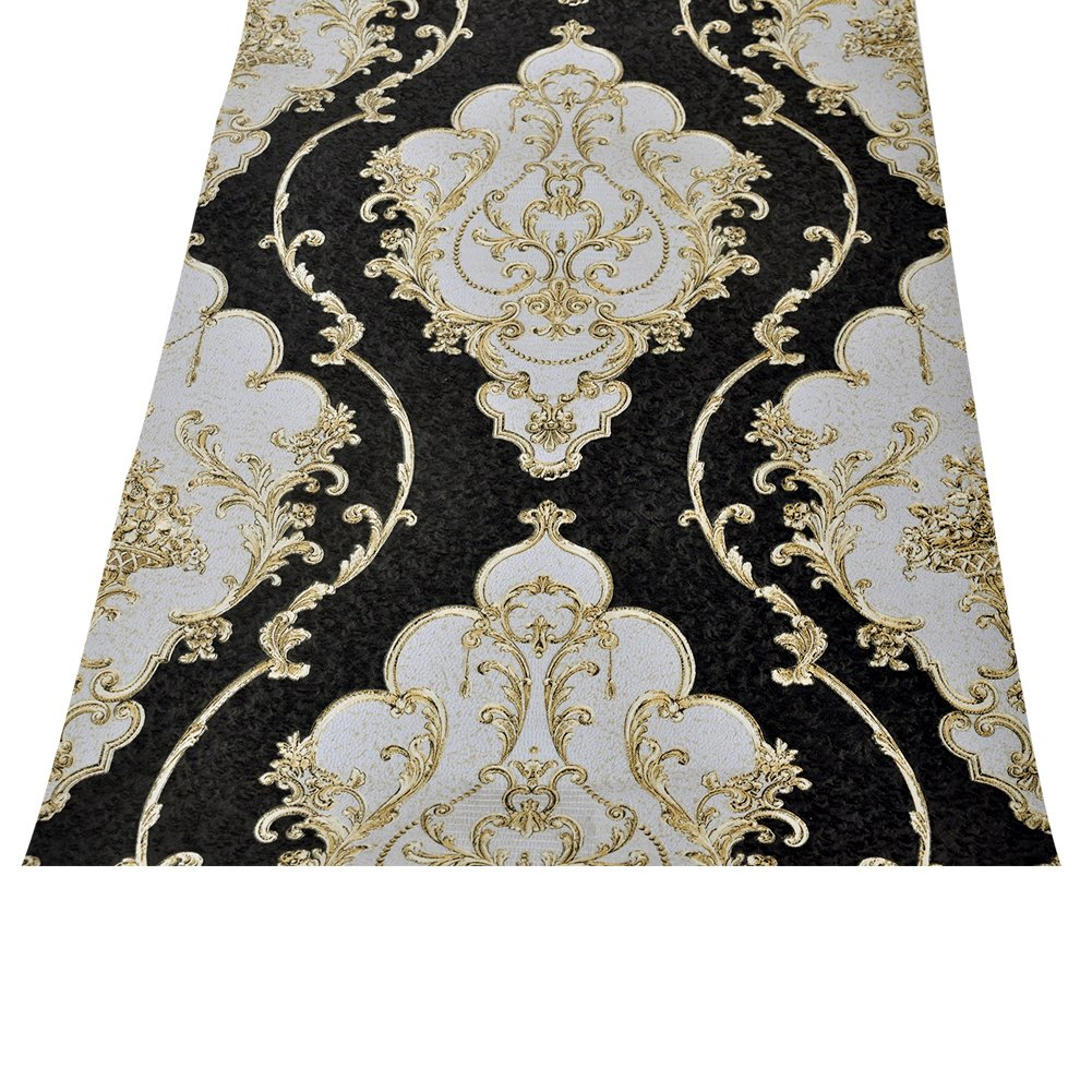HaokHome 360207 Luxury Heavy Texture Victorian Damask Wallpaper Black/Gold/Brown/Silver for Home Accent Wall 20.8''x 31ft by HAOKHOME (Image #3)