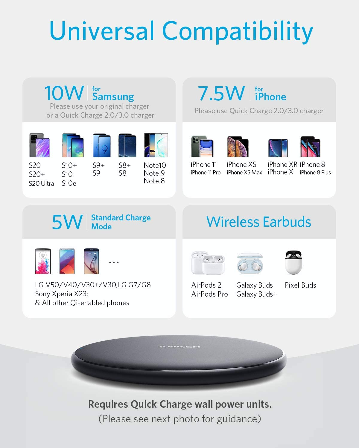 Anker Wireless Charger, PowerWave Pad Qi-Certified 10W Max for iPhone SE (2020), 11, 11 Pro, 11 Pro Max, Xs Max, XR, XS, X, 8, 8 Plus, AirPods, Galaxy S20 S10 S9 S8, Note 10 9 8 (No AC Adapter)