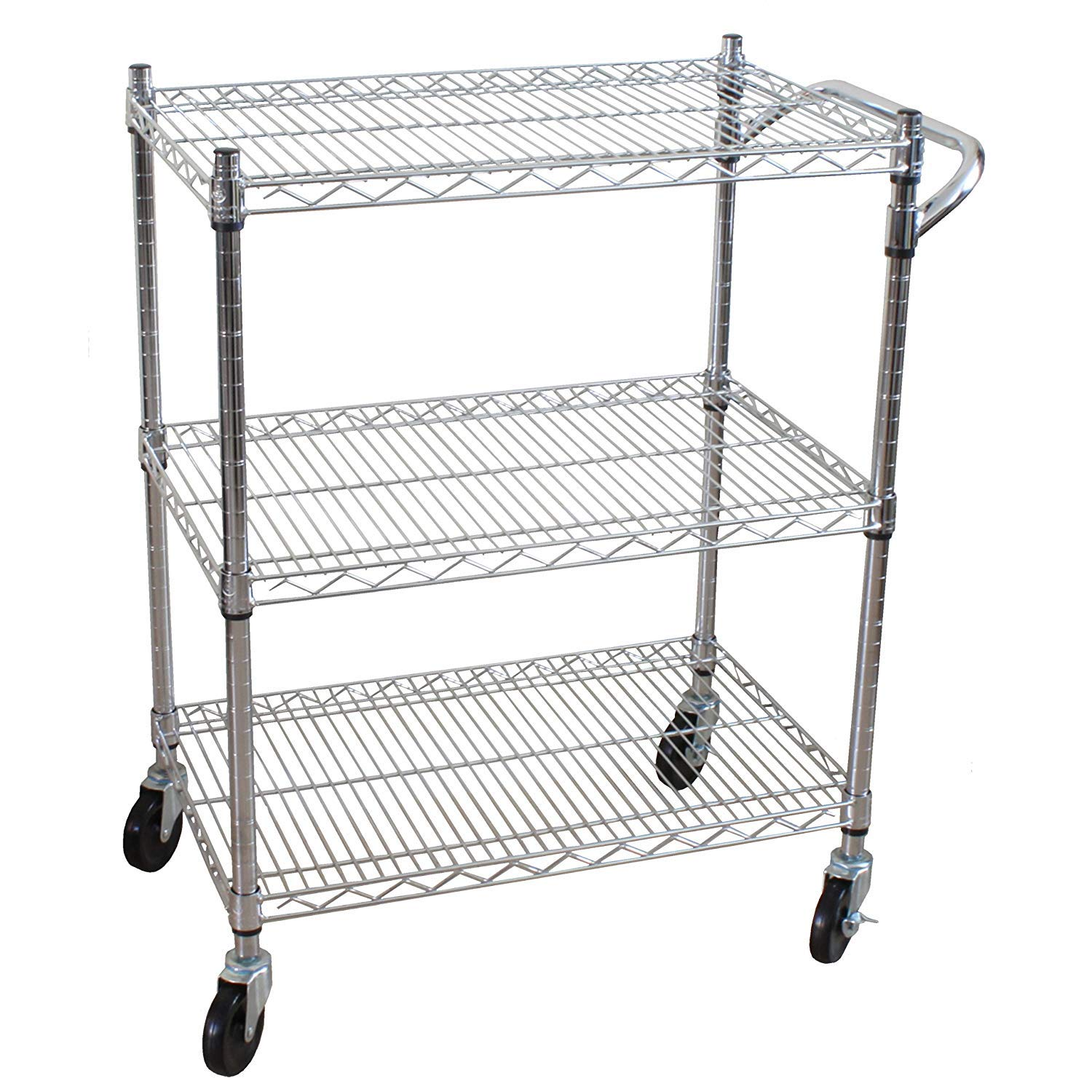 Oceanstar 3-Tier Heavy Duty All-Purpose Utility Cart Chrome (Pack of 1)