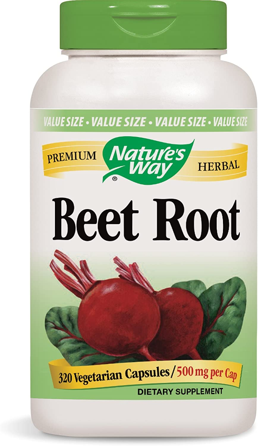 Nature's Way Beet Root; 1 gram Beet Root per serving; TRU-ID Certified; Gluten-Free; Vegetarian; 320 Capsules