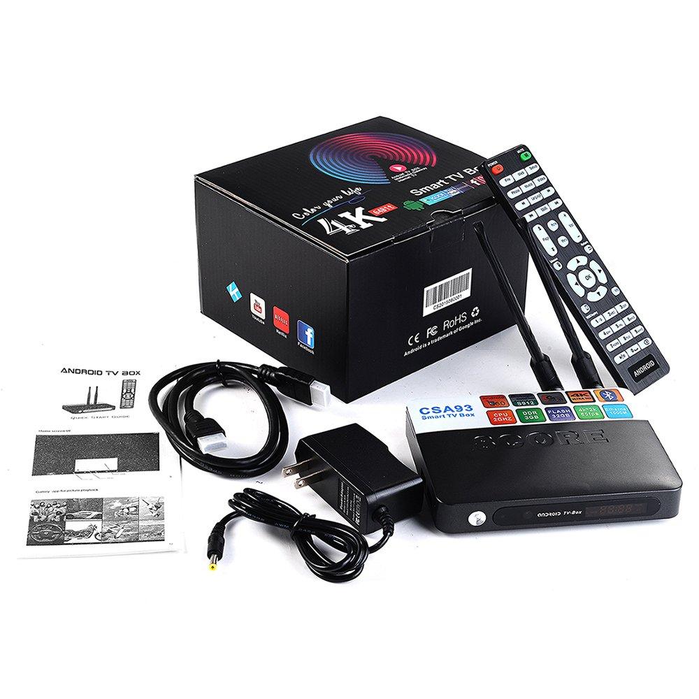 The Best Working CSA93 Amlogic S912 Octa Core Android 6.0 TV Box 3GB RAM 32GB ROM TV Box 2.4GHZ&5.8GHZ Dual WIFI CSA93 Streaming Smart Media Player-Black