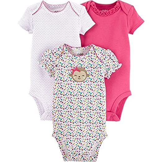 030662fb2 Child Of Mine by Carters Baby Girl Bodysuits Outfits 3-Piece, Newborn  Monkey Design