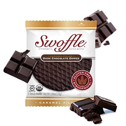 Stroopwafel Dutch Waffle Gluten Free Waffle Cookies Organic Individually Wrapped Kosher Waffles Non Gmo Soy Free Nut Free Dark Chocolate Dipped 14 Count Swoffle Amazon Com Grocery Gourmet Food