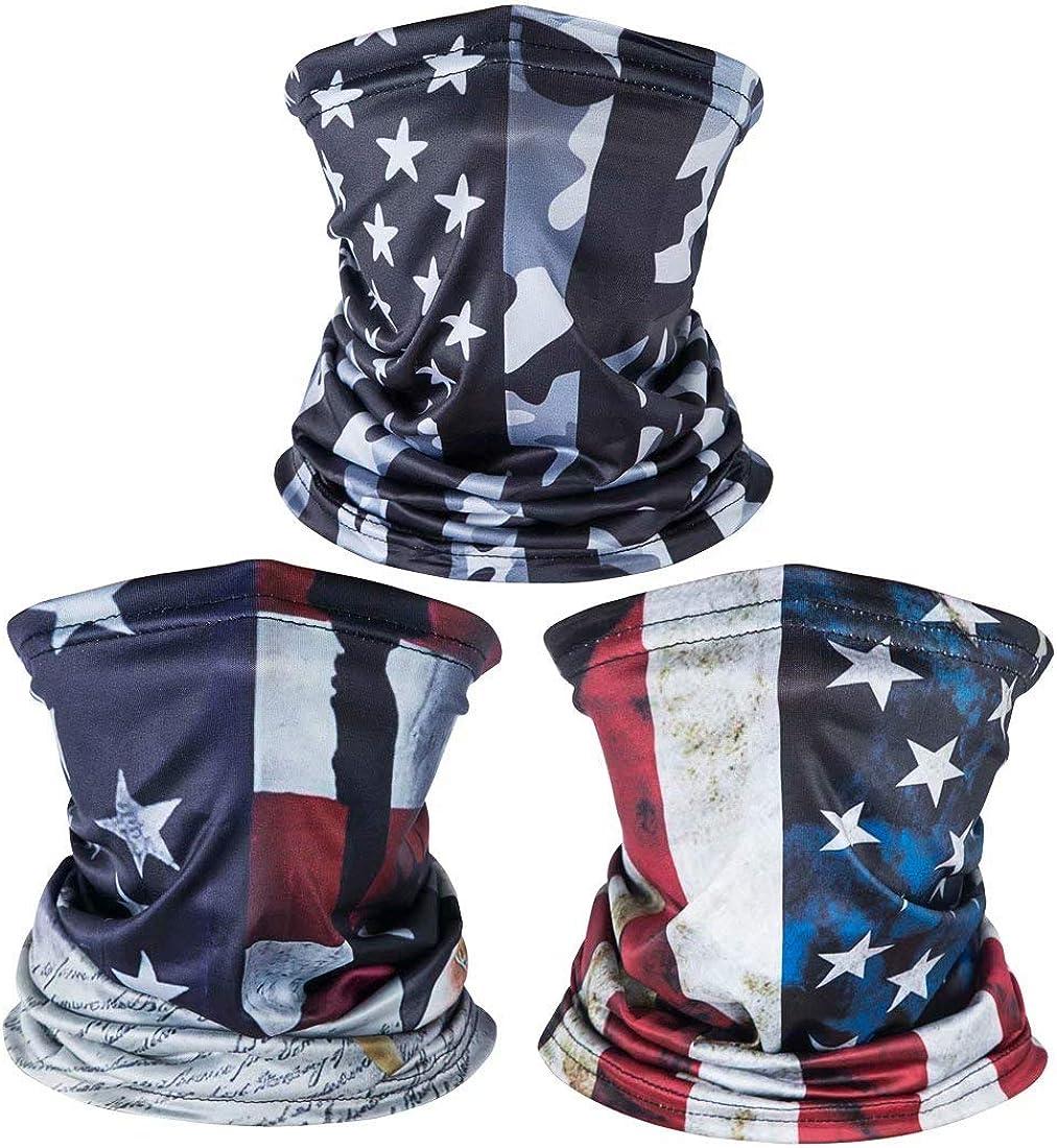 American US Flag Face Bandana Neck Gaiter, Sun UV Dust Protection Reusable Half Mask Scarf Motorcycle Balaclava for Men Women