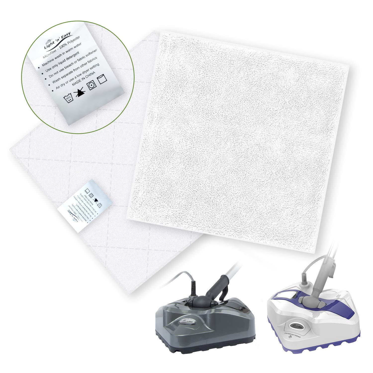 LIGHT 'N' EASY Steam Mop Pads Replacement 2 Sets of Microfiber Cleaning Pads Washable Microfiber Mop Pads with 3 Layers, Steam Pocket Mop Pads for Most Hard Flooring
