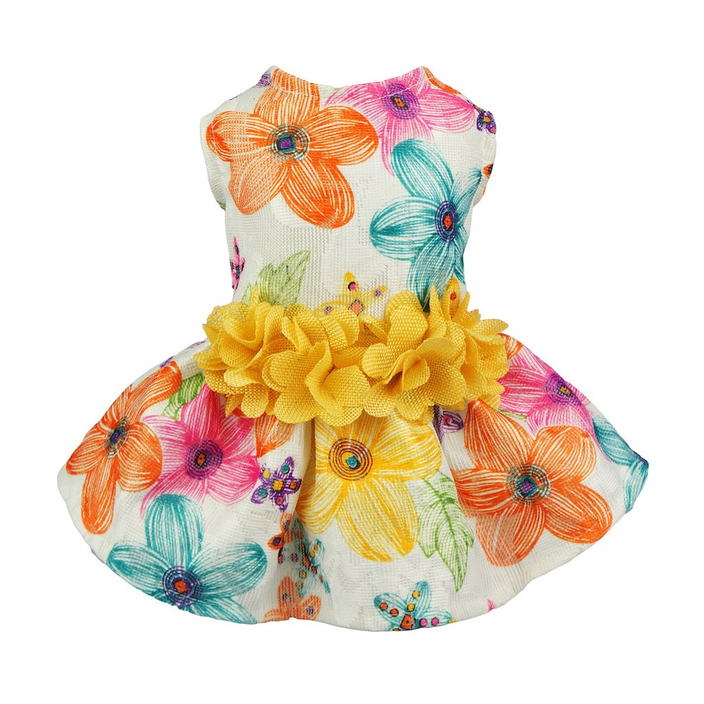 Fitwarm Floral Dog Harness Dress Pet Clothes D-ring Vest Shirts Sundress Yellow Medium