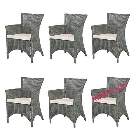 Rotin Design Lote 6 sillones de Ratan Rosas Verde Modernos ...