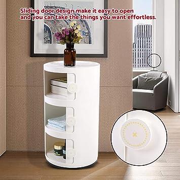 GOTOTOP Container Componibili, 3 Schichten runder Kunststoff Rollcontainer  Nachttisch Aufbewahrungsschrank mit Slippng Tür für Badezimmer-Schlafzimmer  ...