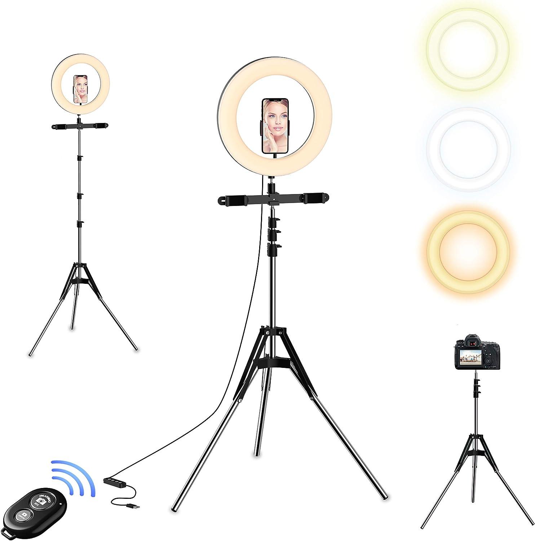 Selvim 10'' Anillo de Luz con Trípode Alto y Extensible de 190 cm, 128 Bombillas LED, 3 Modos 10 Brillos Regulables, Control Remoto Bluetooth, para Maquillaje, Selfie, Tiktok, Soportes para Móviles
