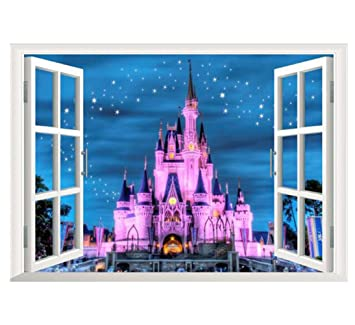 3d fake window pink castle scene removable wall stickers for nursery room living room background decor