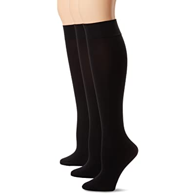 HUE Women's Soft Opaque Knee High Socks (Pack of 3) at Women's Clothing store