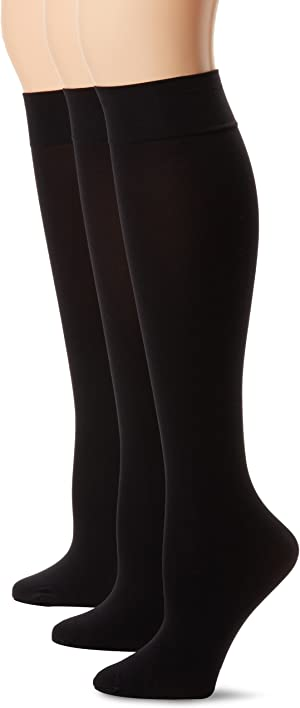 HUE womens Soft Opaque Knee High Socks (Pack of 3)