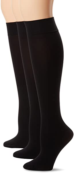 30349668f HUE Women s 3-Pack Soft Opaque Knee High Socks