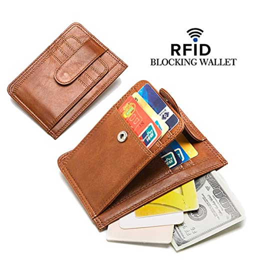 dd67a6130f2d Slim Wallets for Men RFID Blocking Genuine Leather Wallet Minimalist Thin  Purse Card Holder Zip Pocket