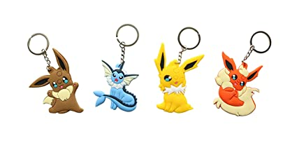 Amazon.com: Juego de 4 llaveros Eevee Evolutions Pokemon ...