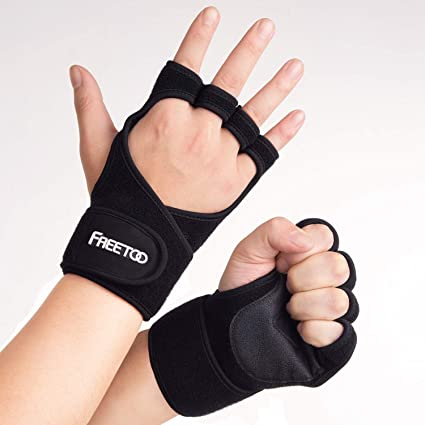 Fitness Grip Pads Handschuhe rutschfeste Griffpolster Kraftsport Gym schwarz