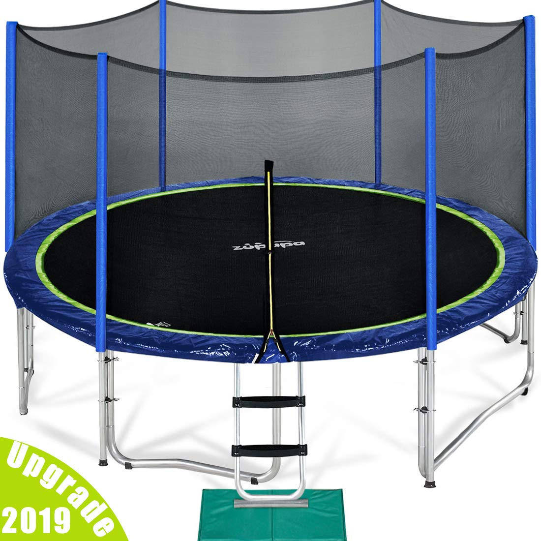 Zupapa 15 14 12 Ft TUV Approved Trampoline with Enclosure Net and Pole and Safety Pad and Ladder and Jumping Mat and Rain Cover 108 Springs Size 15 Feet by Zupapa