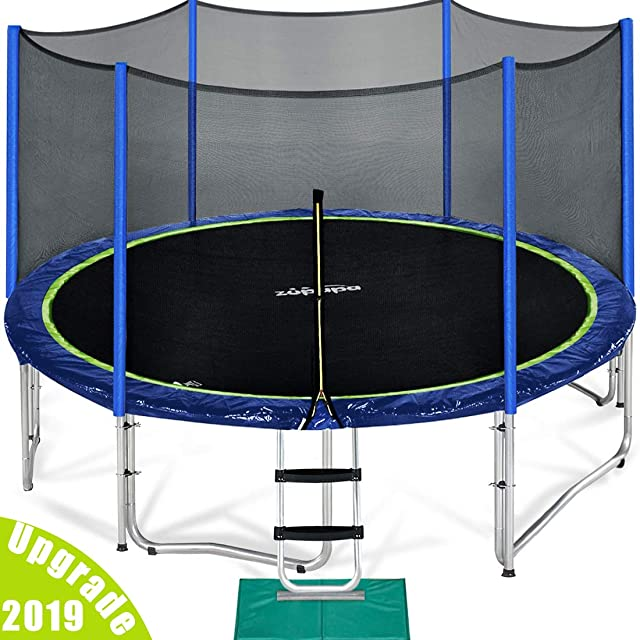 Zupapa 15 14 12 FT TUV Approved Trampoline with Enclosure net and poles Safety Pad Ladder