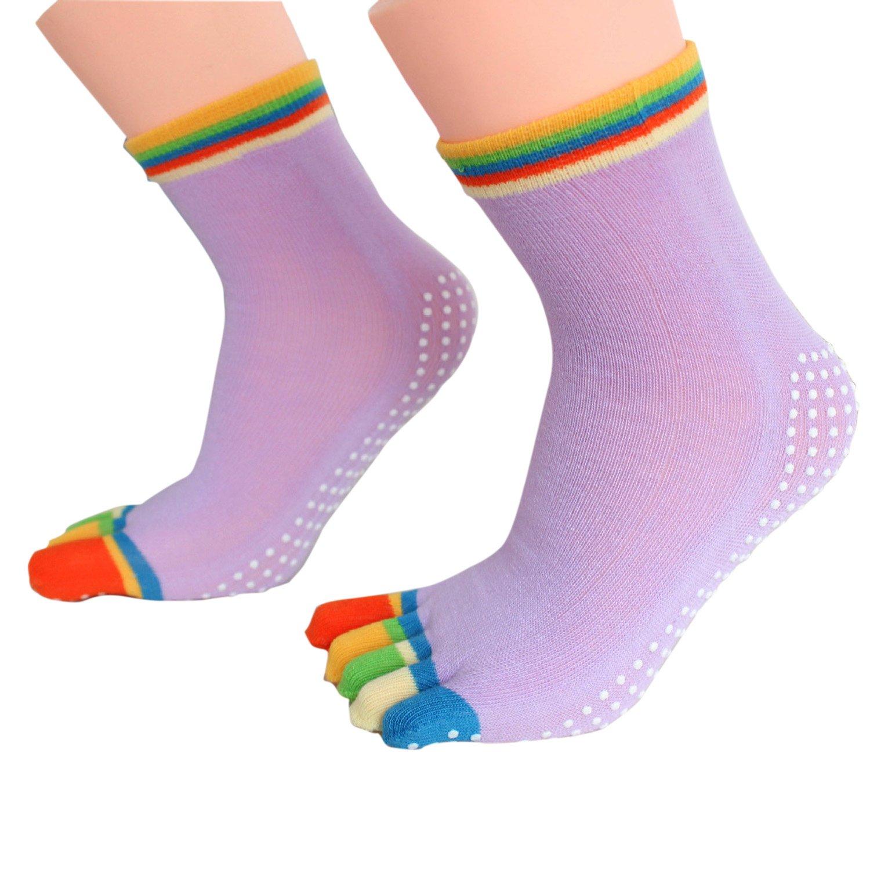 3 pares Mezcla colores 5 dedos Anti slittamento fuerte Grip Fitness Yoga Pilates calcetines (Rose morado gris), Mujer, 1#: Amazon.es: Deportes y aire libre
