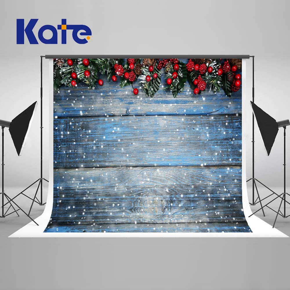 Kate 10×10ft Christmas Backdrops Fir Tree with Cones Xmas Background Snow on Wooden Blue Board Christmas Photo Backdrops Seamless Photo Studio Booth Props for Photography Seamless by Kate