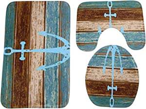 OUNONA 3 Piece Bathroom Rug Set Nautical Anchor Pedestal Mat Non Slip Bath Mat Toilet Lid Cover Toilet Rug Set
