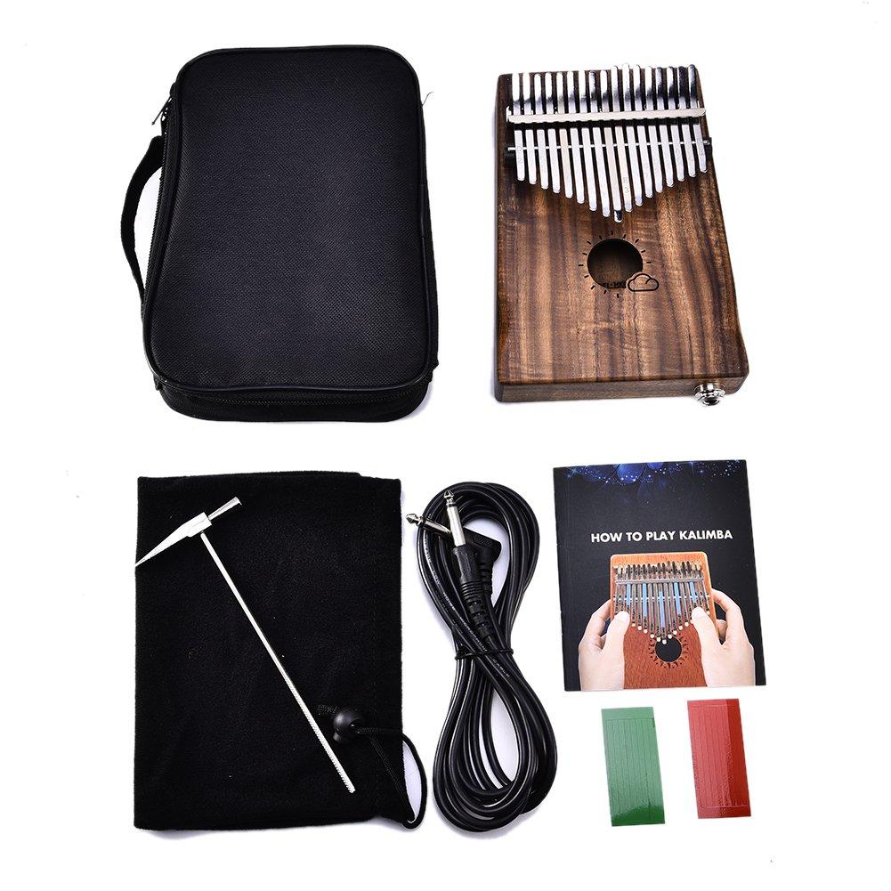 Waroomss 17 teclas EQ kalimba s/ólido acacia pulgar piano enlace altavoz recogida el/éctrica con cable de la bolsa