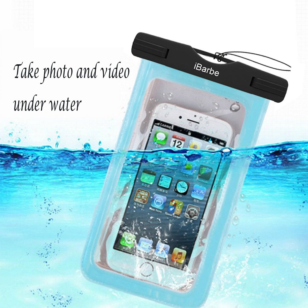 iBarbe 2 Pack Waterproof Case, Universal Cell Phone Plasic TPU Dry Bag iPhone 7 7 Plus 6S 6/6S Plus 5/S/SE 5C Samsung Galaxy Note 5 s8 s8 Plus S 8 S7 S6 Edge s5 etc.to 5.7 inch,White+Blue by iBarbe (Image #4)