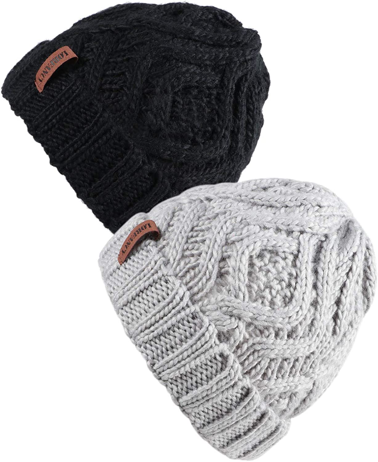 vamei Beanie Knit Hat for Women Men Christmas Winter Gifts Soft Stretch Cable Cap Outdoor Warm Skullies Chunky Ladies Sloush Knit Hat 2pack