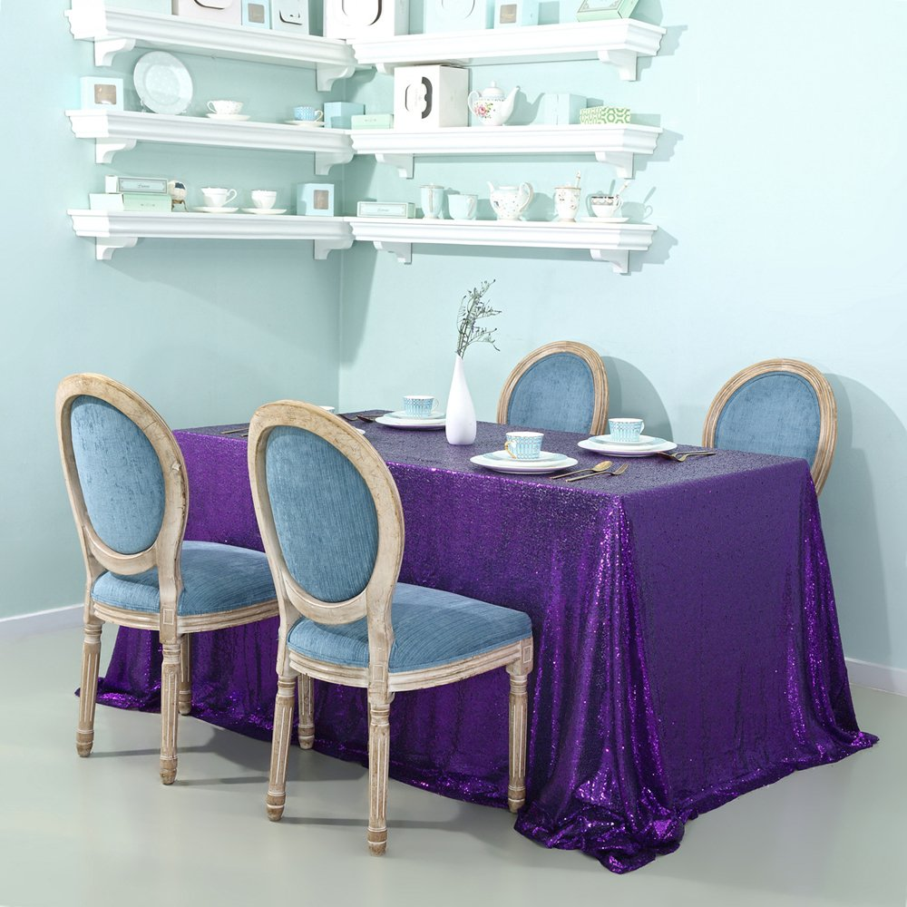 Zdada Purple 90''x132'' Purple Linens Tablecloth Shiny Sequin Tablecloth Wedding Banquet Tablecloth