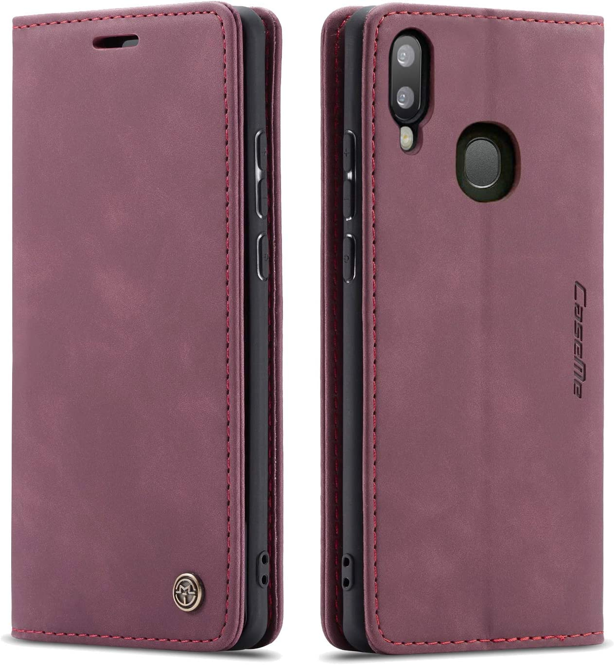 Galaxy A20 Case,Galaxy A30 Case,Bpowe Leather Wallet Case Classic Design with Card Slot and Magnetic Closure Flip Fold Case for Samsung Galaxy A20/Galaxy A30 (Wine red)