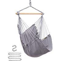 Y- STOP Hammock Chair Hanging Rope Swing - Max 330 Lbs - Quality Cotton Weave for Superior Comfort & Durability (Light…