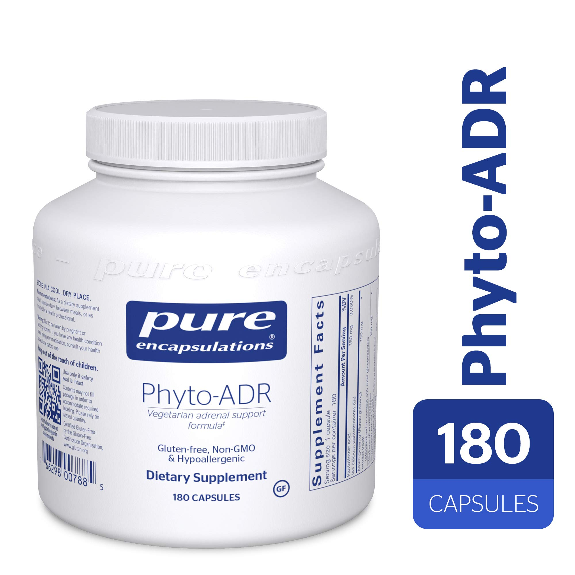 Pure Encapsulations - Phyto-ADR - Hypoallergenic Adrenal Support Formula for Vegetarians* - 180 Capsules