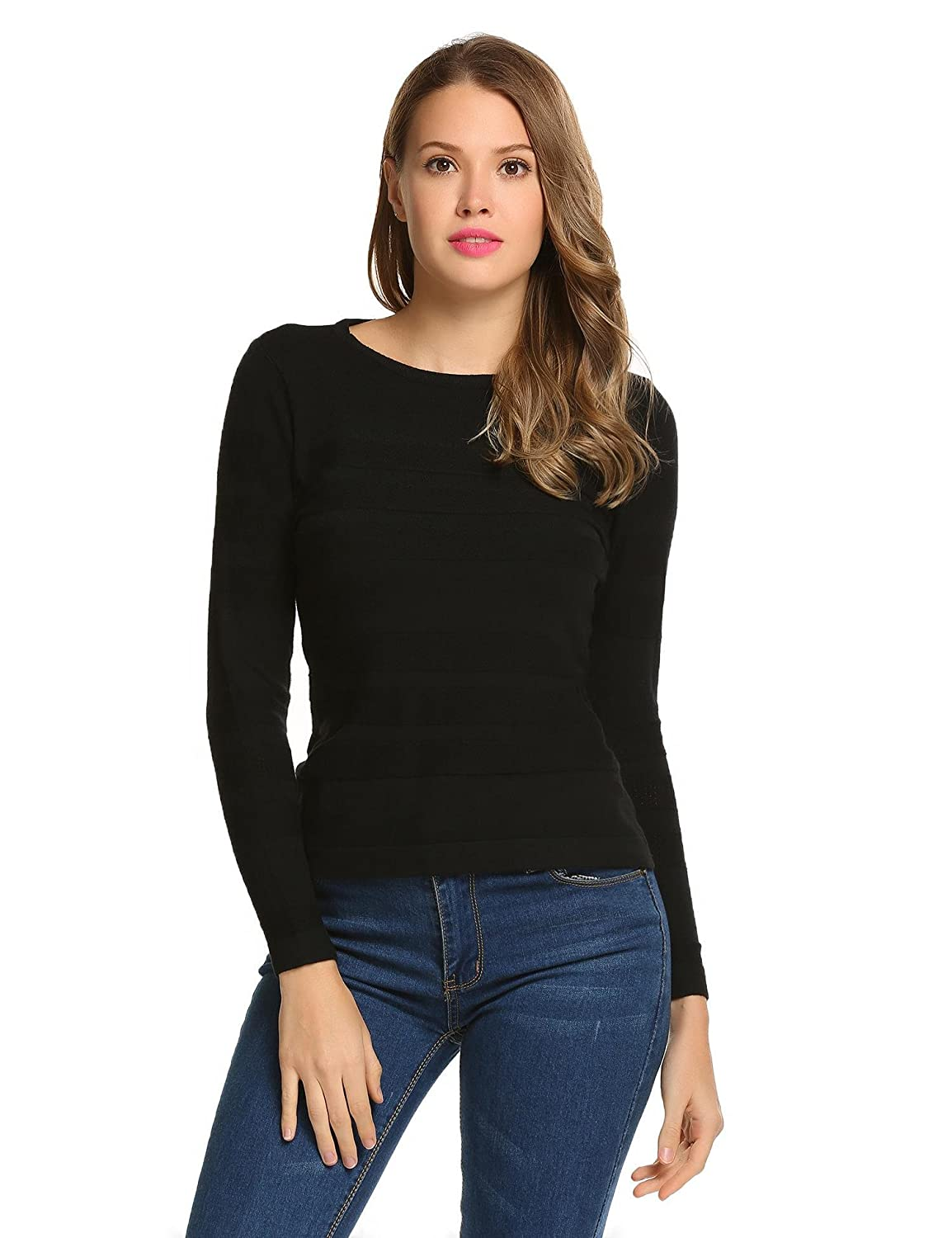 Meaneor Women's Long Sleeve Crew Neck Casual Knitted Pullover Sweaters Top ##MAV005144