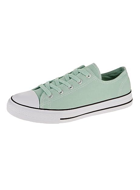 oodji Ultra Donna Sneakers Basic con Finiture a Contrasto, Verde, 36 EU/3.5