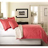 Tache 3 Piece Floral Rose Pink Luxembourg Coral Reversible Bedspread Set, Queen