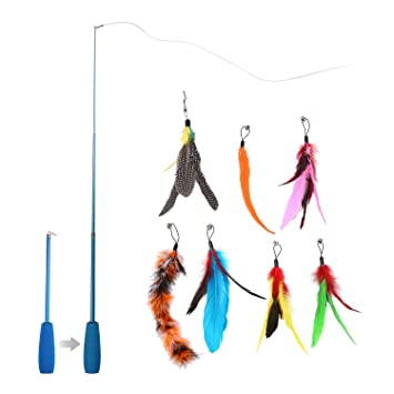 AOLVO - Varilla de Alambre para Gato con diseño de pájaros, Juguete para Mascota, Varita de Vara, caña de Juegos, Juguetes interactivos: Amazon.es: Hogar