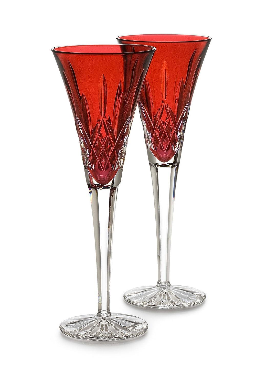 Waterford Crystal Lismore Crimson Flute Pair