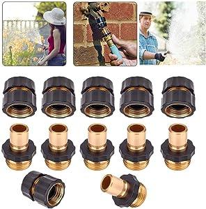 Machgrin Hose Quick Connector Garden Fitting 3/4 Inch Male and Female Water Hose Quick Connector (6 Sets, 12 PCS)