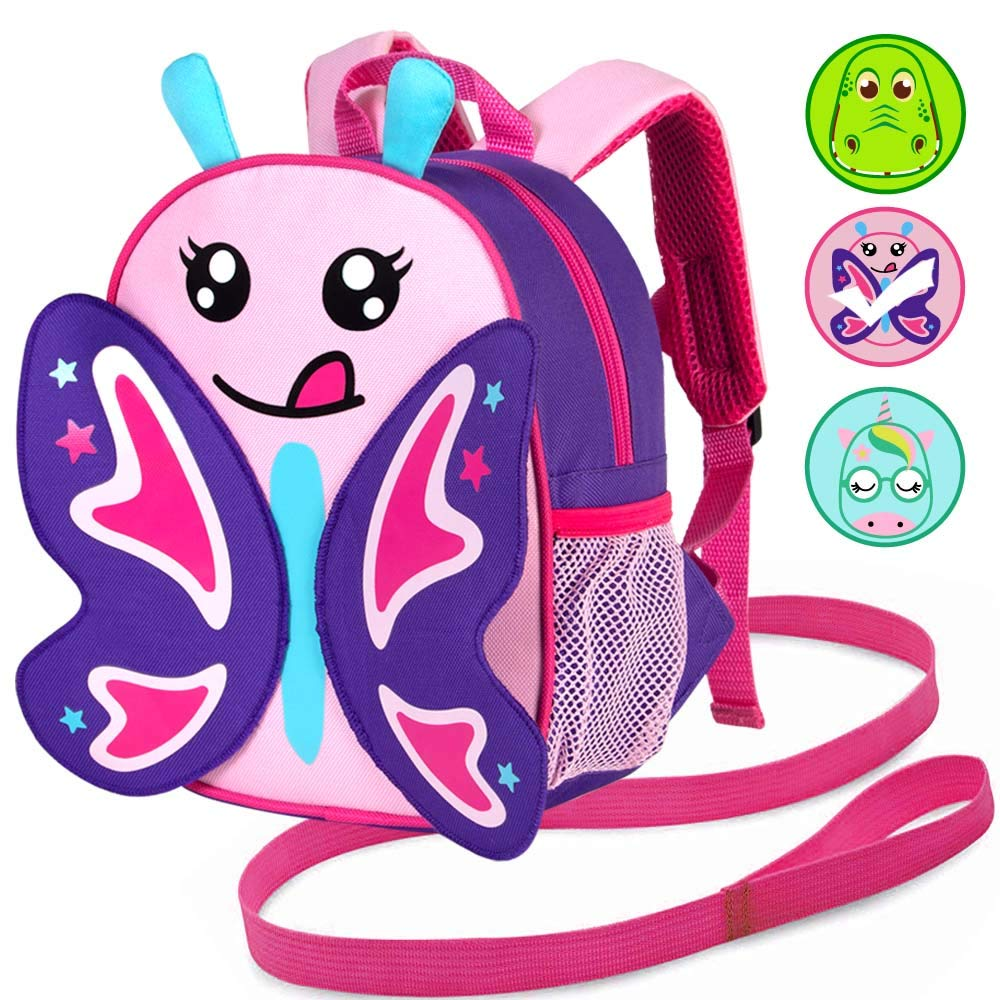 """Toddler Backpack Leash, 9.5"""" Safety Harness Butterfly Bag - Removable Tether"""