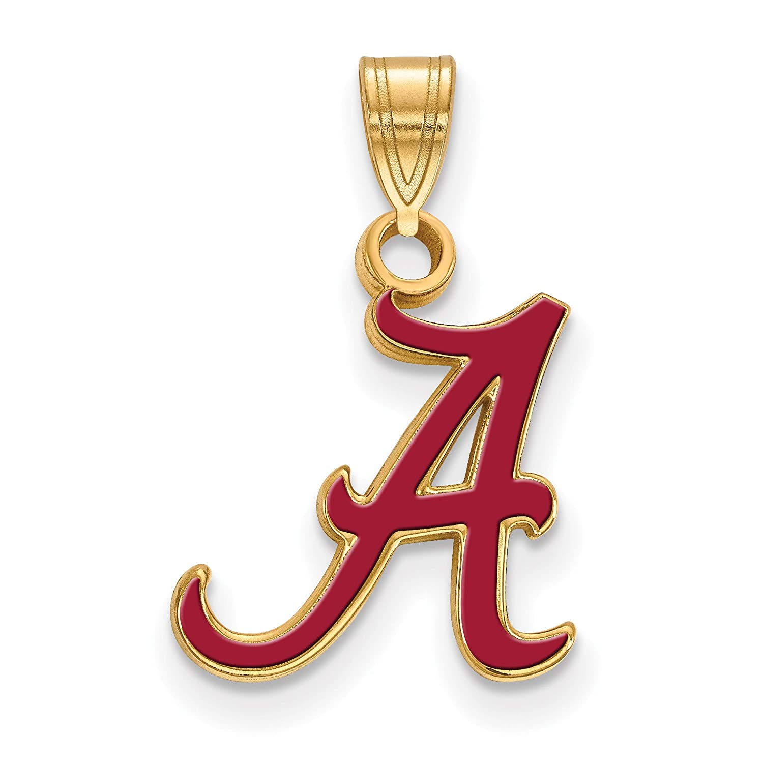 University of Alabama Crimson Tide Red School Letter Pendant Gold Plated Silver 13x12mm