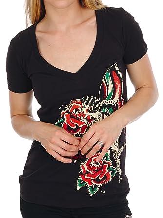 Amazon.com  Lucky 13 Juniors Rose Fairy Deep V-Neck T-Shirt  Clothing cbefbbeda