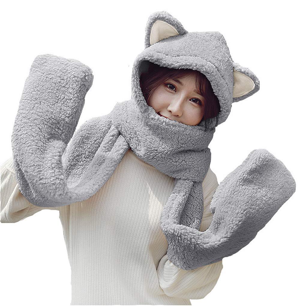 Women Girls Animal Winter Warm Faux Fur Hoodie Scarf Paw Gloves Earflap Hat Set Baixt Group Limited