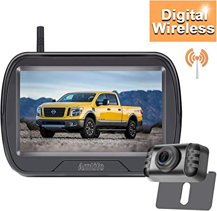 Amtifo HD 720P Digital Wireless Backup Camera System with 4.3 Monitor for Pickups,Trucks,Cars,Campers,Adjustable Rear//Front View,Guide Lines On//Off,IP69 Waterproof