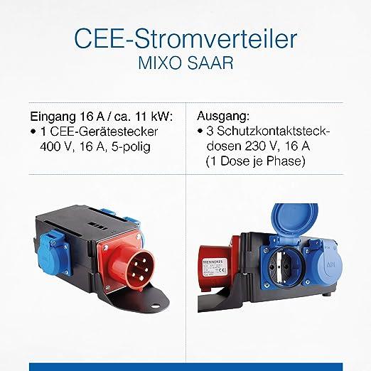 As Schwabe Mixo Adapter Stromverteiler Saar Cee Stecker Auf 3 Schuko Steckdosen Robuster Baustellen Starkstrom Verteiler Ip44 Made In Germany I 60524 Baumarkt